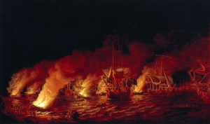 The_Defeat_of_the_French_Fireships_attacking_the_British_Fleet_at_Anchor_before_Quebec